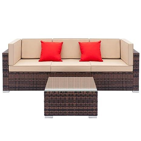 Amazon.com: Terrace Sofa 4 Pieces Outdoor Furniture Set All ...