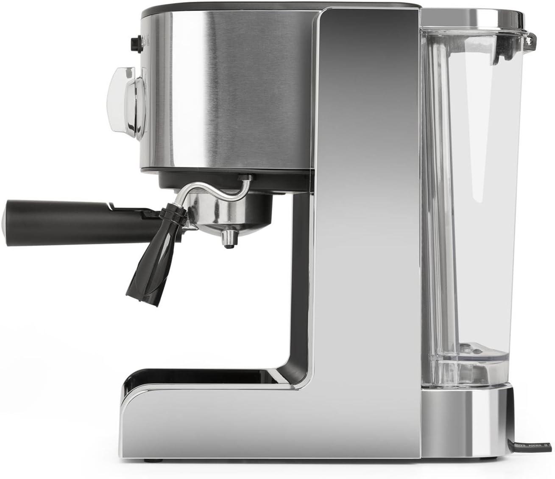 Boquilla de vapor Dep/ósito extra/íble Acero inoxidable Capacidad para 6 tazas Plateado Espumadora de leche Klarstein Passionata 20 M/áquina de caf/é espresso Cappuccino