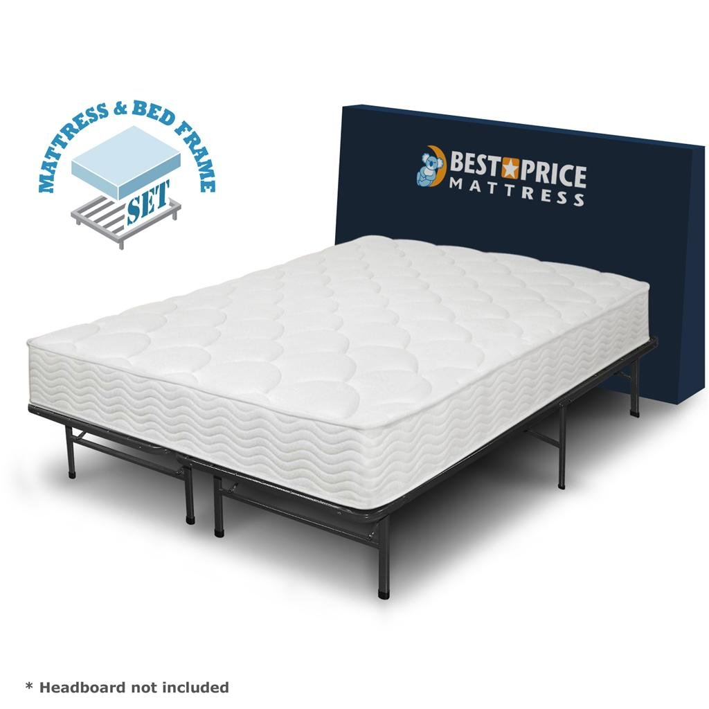 amazoncom best price mattress 8inch tight top icoil spring mattress and metal platform bed frame set full kitchen u0026 dining