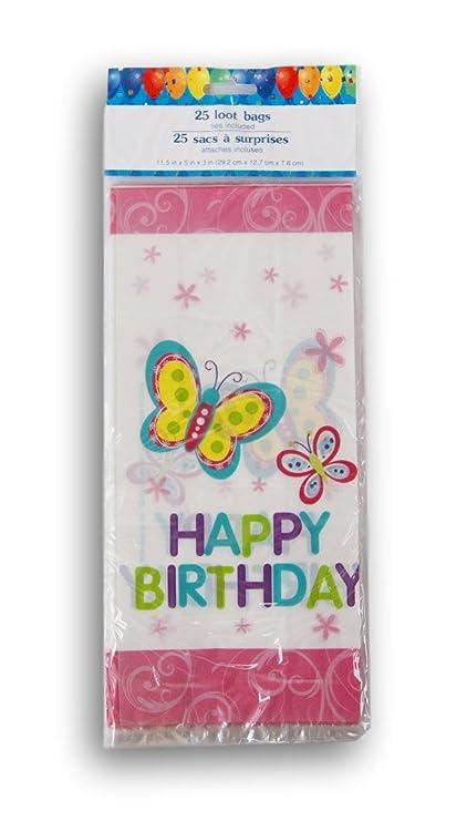 Amazon.com: Feliz cumpleaños mariposa celofán bolsas de ...