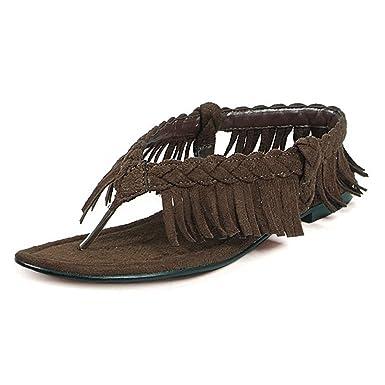 fb8aeb3cad7c6e Indian Costume Sandals Native American Shoes Pocahantas Brown Fringe Thong  Toe Size  6