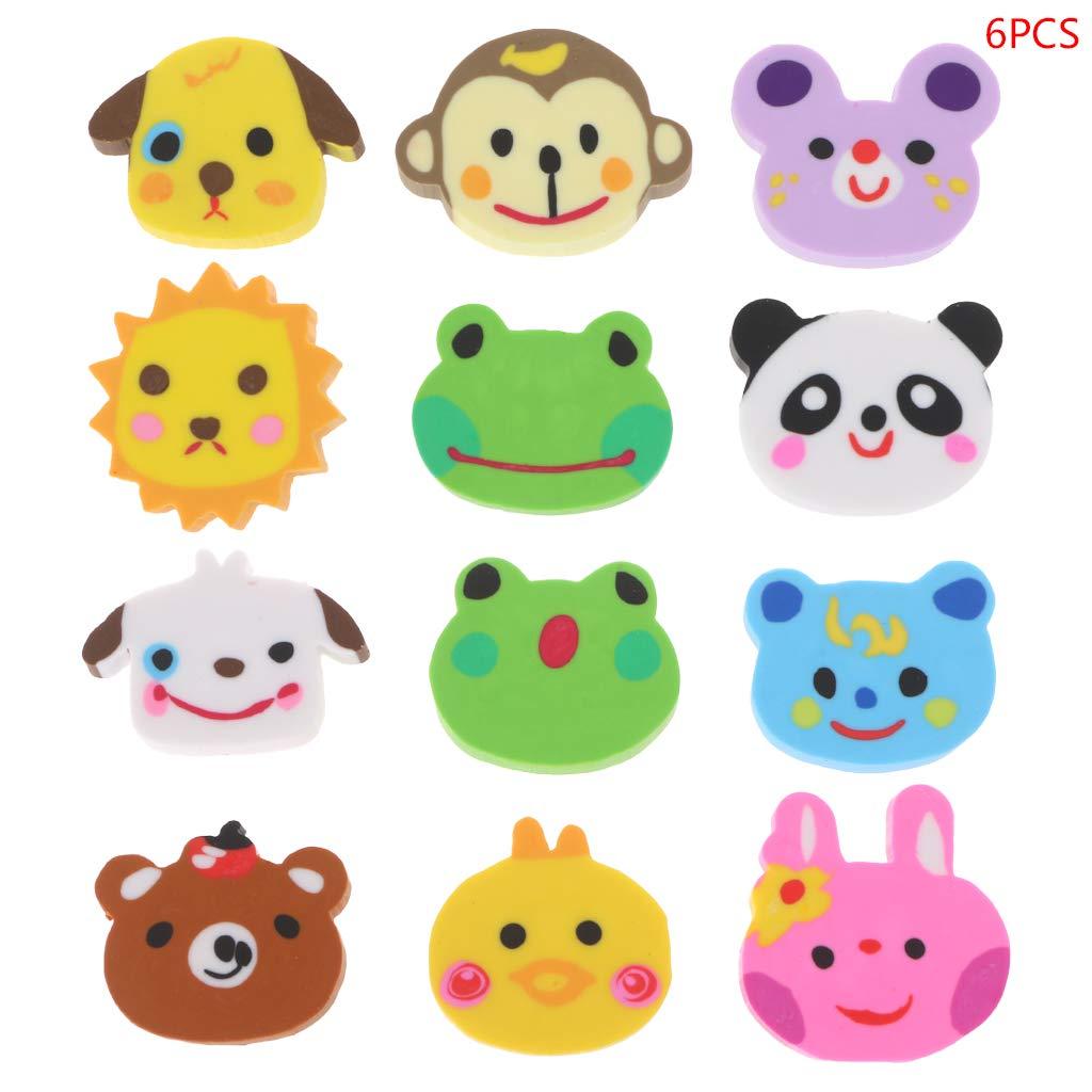 niumanery 6pcs Set Animal Head Zoo Gomme di Matita Creative Simpatico Regalo per Bambini novit/à Cancelleria per Studenti