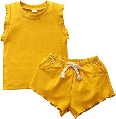Conjuntos Casuales de Niña Pequeña para Niños Set 2Pcs / Set Camiseta sin Mangas de Algodón + Pantalones Cortos: Amazon.es: Ropa y accesorios