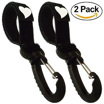 Ganchos Carrito Bebé Pack de 2 universal para colgar pañales, bolsas y juguetes color negro [075]