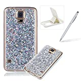 Rubber TPU Case For Samsung Galaxy S5,Herzzer Slim Lightweight Color Changing Glittering Luxury Unique [Red Sequins] Bling Shiny Sparkle Soft Silicone Gel Clear Bumper Frame Cover for Samsung Galaxy S5