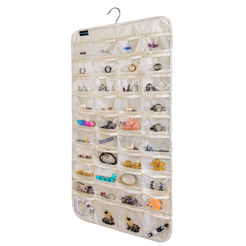 brotrade Hanging Jewelry Organizer,80 Pocket Organizer For Holding Jewelries(Beige) by brotrade (Image #1)
