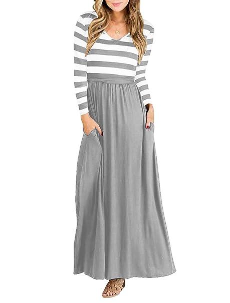 Amazon.com: Vestido Maxi de manga larga para mujer a rayas ...