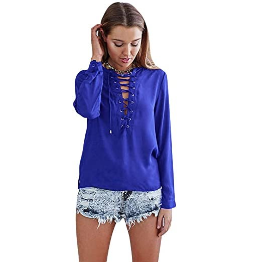 fd26c33ce54f5 ROPALIA Womens Deep Plunge V-Neck Lace Up Chiffon Blouse T Shirt Casual Tops  at Amazon Women s Clothing store