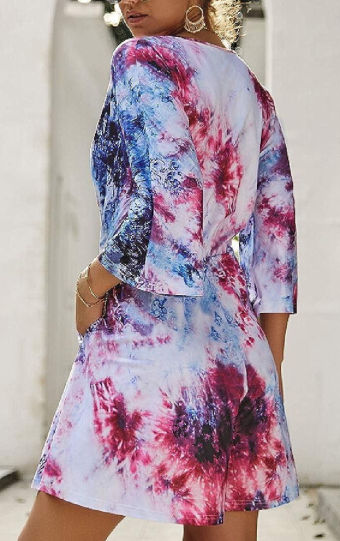 pujingge Womens Tie Dye Wrap V Neck 3//4 Sleeve Loose Fit Shorts Jumpsuit