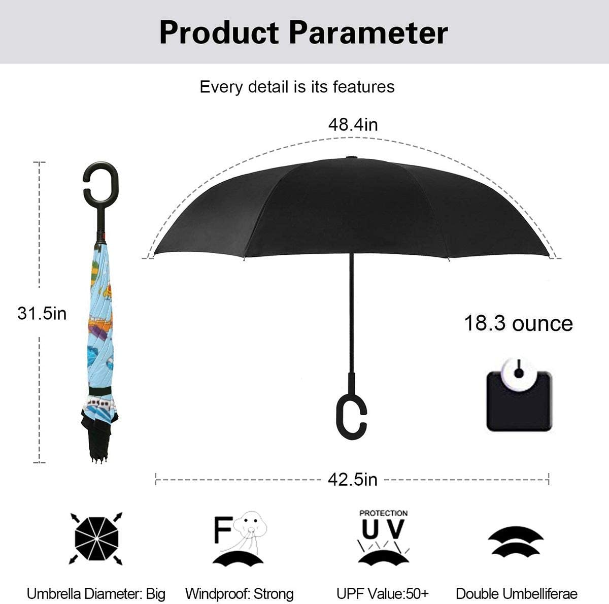 Folding Reverse Umbrella for Car Rain Outdoor Self Stand Upside Down with C-Shaped Handle PYFXSALA Flight Bird Pattern Cartoon Windproof Inverted Umbrella Double Layer UV Protection