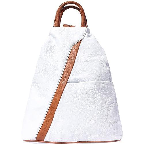 Borsa a zaino 2061 (Bianco-cuoio)  Amazon.it  Scarpe e borse 41591c8281b