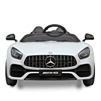 TOBBI Benz Licensed 12V Electric Kids RC Ride On Car with MP3, Radio, Remote Control White