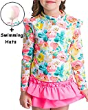 Garlagy 3 PCS Baby Girls Swimsuit Long Sleeve Rash Guard Sets Floral Bikini UV Sun Protection Athletic Swim Shirt