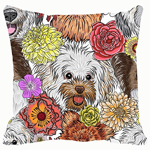 Throw Pillow Covers 18x18,Seamless Pattern Purebred Cute Character Portrait Animals Wildlife Dog Animals Wildlife Beauty Fashion Dog Beauty Fashion