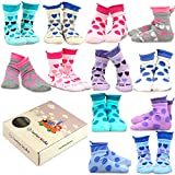 TeeHee Kids Girls Cotton Basic Crew Socks 12 Pair Pack (3-5Y, Large Dot & Hearts)
