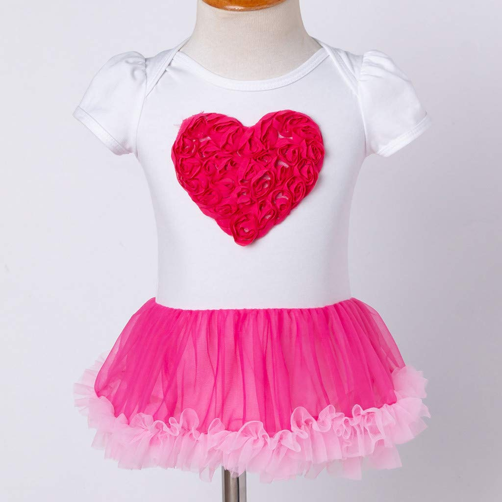 Baby Girl Birthday Clothes Pink Heart Dress Tulle Skirt Headband 2pcs Set