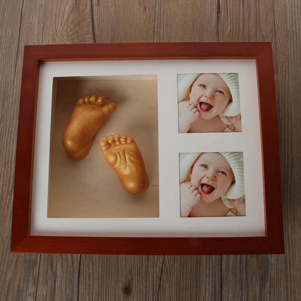 Jushi 1 Set Newborn Baby Babyprints Handprint Footprint Casting Kit Coffee Photo Frame Kits 3D Wooden Photo Frame for Baby Boy Girl Shower Gift Souvenir Include Material