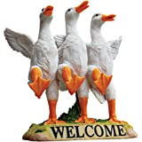 Design Toscano JQ6260 Delightful Dancing Ducks Welcome Sign Garden Statue, 11 Inch, Full Color