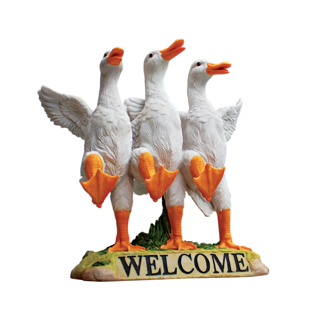 Design Toscano Delightful Dancing Ducks Welcome Sign Garden Statue, 11 Inch, Polyresin, Full Color