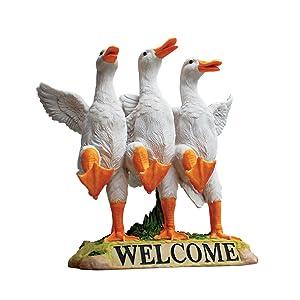 Design Toscano Delightful Dancing Ducks Welcome Sign Garden Statue, 11 Inch, Polyresin, Full Color