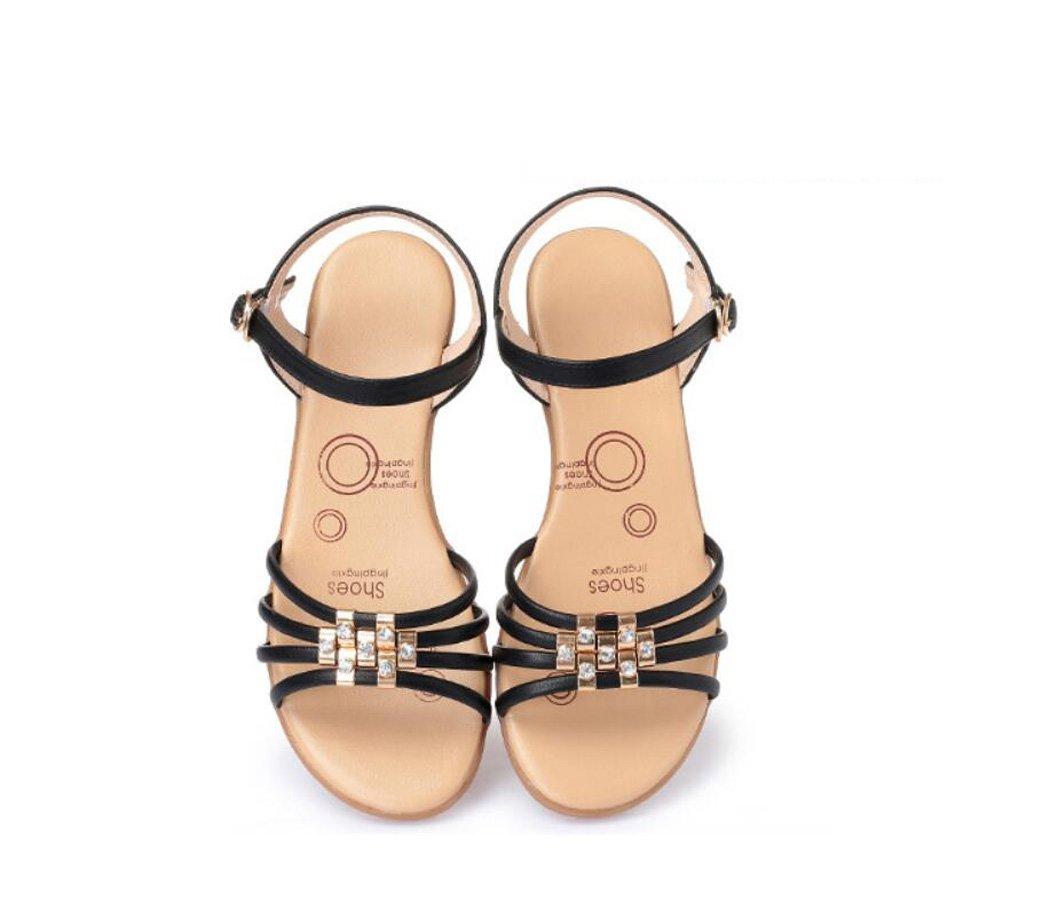 DANDANJIE Damenschuhe Spring Comfort Sandalen Keilabsatz Open Toe (Beige Schuhe Größe 35-42 (Beige Toe Schwarz Grau) (Farbe : Schwarz, Größe : 38) Schwarz 6912e9