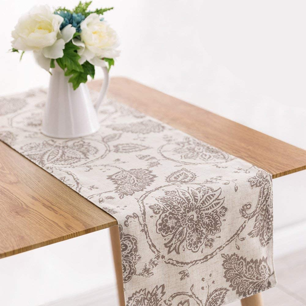 """jinchan Table Cloth Linen Textured Scroll Patten Triangular Decorative Burlap Tablecovers Rustic Floral Design Handcrafted Flax Tablecloths(1 Panel 13"""" W x 72"""" L Taupe)"""