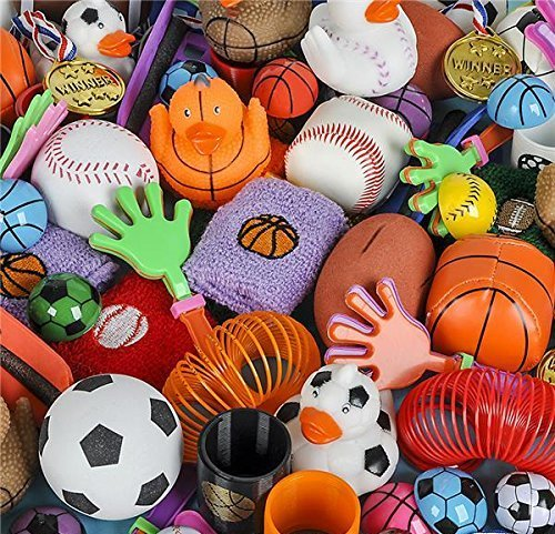 Sport theme party favor toy assortment pack of 50 pc, Includes a wide range of mid-size and small toys, small prizes, for party favor bags, School classrooms, and carnivals sport -