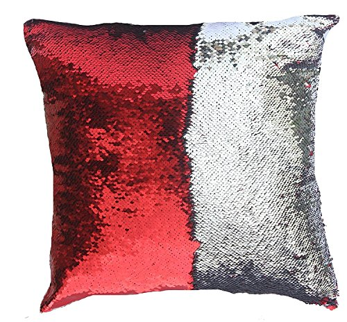 16x16 with Insert Mermaid Flip Sequin Pillow That Changes Color Reversible Pillow with Sequins Perfect Color Changing Throw Pillow Square for Home Decor Red Silver Color