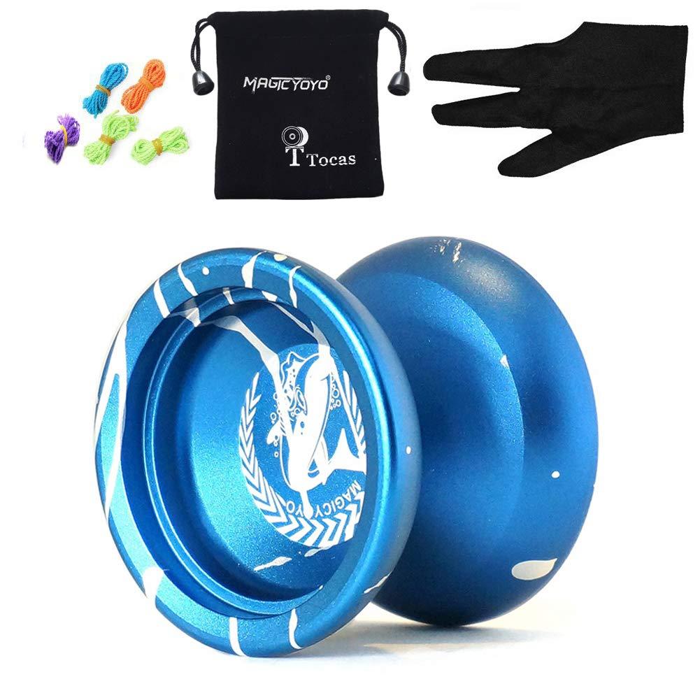 Magic YOYO N12 Alloy Aluminum Metal Professional Yo-yos Toy Yo Yo Ball with 1 Gloves And 5 Strings (Blue-White)