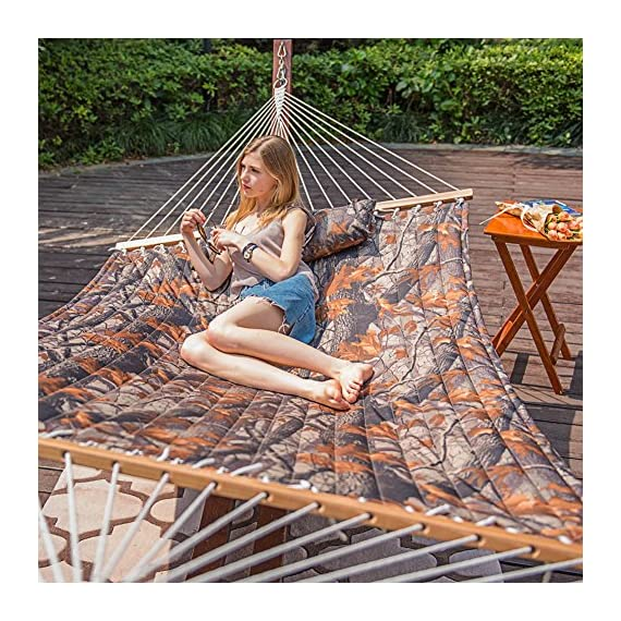Lazy Daze Hammocks Quilted Fabric Double Size Spreader Bar Heavy Duty Stylish Hammock Swing with Pillow for Two Person (Camouflage) - 【SUPER COMFY】The double-layered quilted polyester with inner polyester padding and a polyethylene stuffing head pillow offer superior comfort. No matter it's in summer or winter, this hammock will always be your first choice for relaxation. 【SUPER DURABILITY】Handcrafted polyester ropes add character and authenticity, and thickness of the end cords contribute greatly to the balance and strength of the hammock. Lay in the hammock with no concern ever. 【SUPER LOOK】55 inches durable Hardwood spreader bar with powder coated in an oil rubbed finish protects from rot, mold or mildew, making it more stable and stylish as well as maximizing style. Believe in us, whoever sees this hammock will envy you. - patio-furniture, patio, hammocks - 61swfeFQQ9L. SS570  -