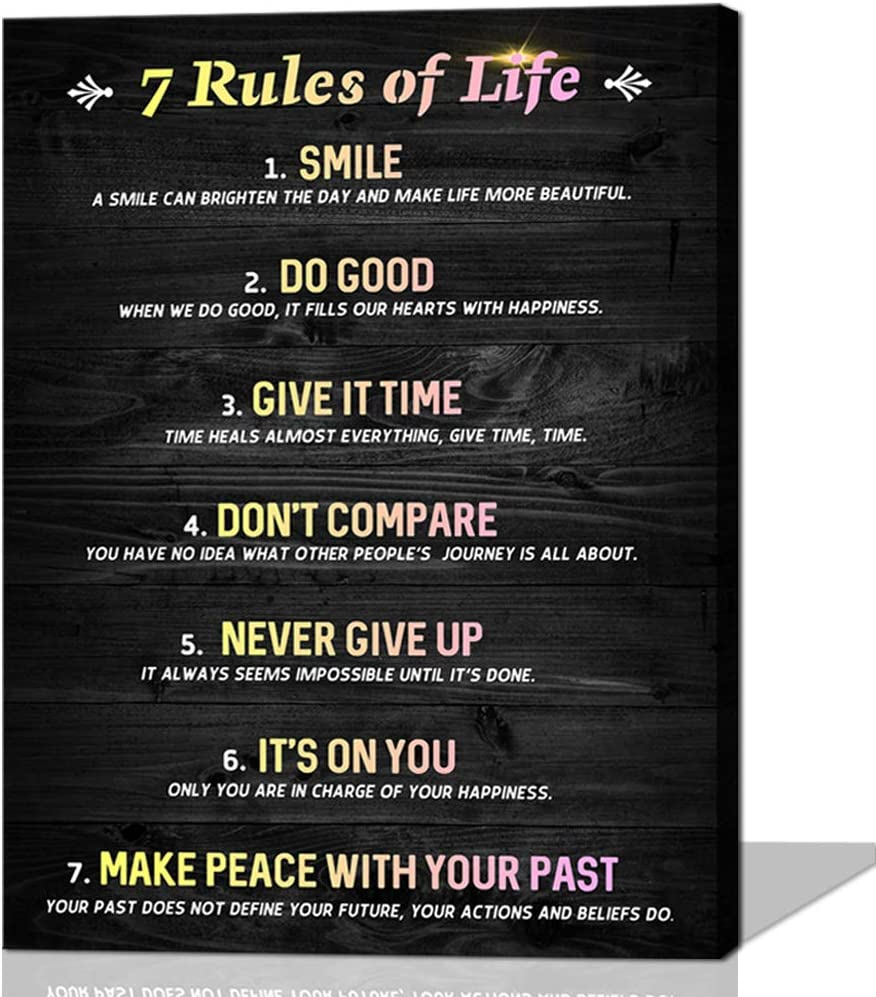 Inspirational Wall Art Motivational Office Canvas Wall Art Poster Quotes Home Decor Black and White Art for Living Room Rustic Framed Art Gift Room Decor for Woman 7 Rules Of Life Pink Yellow