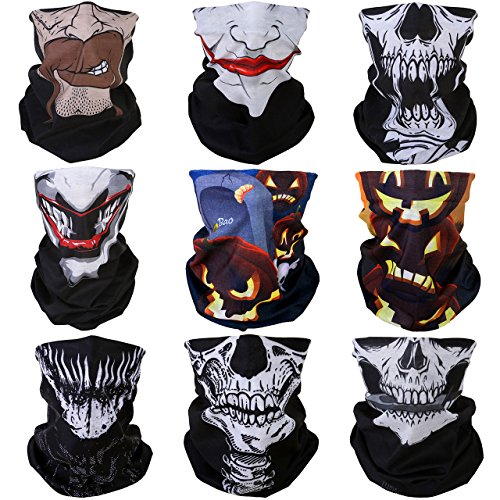 - GraceMe 8PCS 9PCS Multifunction Magic Motorcycle Outdoor Sport Seamless Colorful Tube Half Face Mask Wrap Headband Scarf (Halloween)