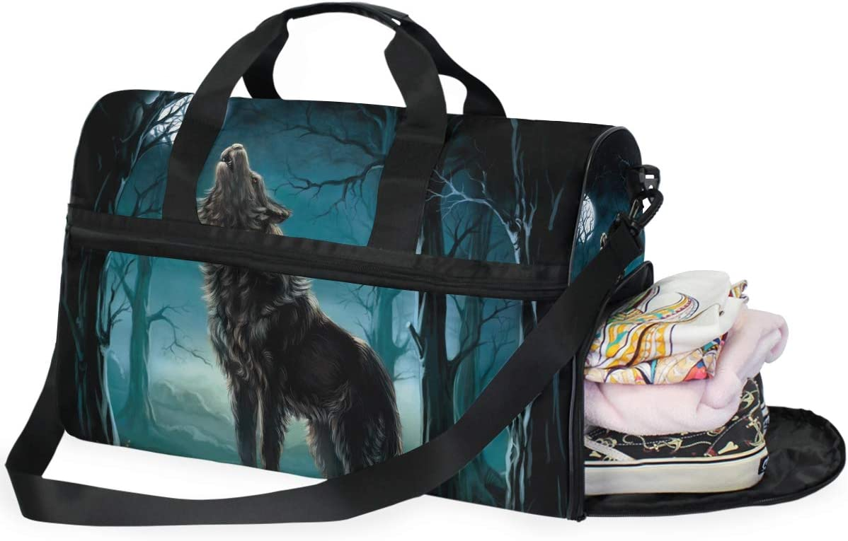 Wolf Travel Duffel Bag Luggage Sports Gym Bag With Shoes Compartment Large Capacity Lightweight Duffle Bag For Men Women
