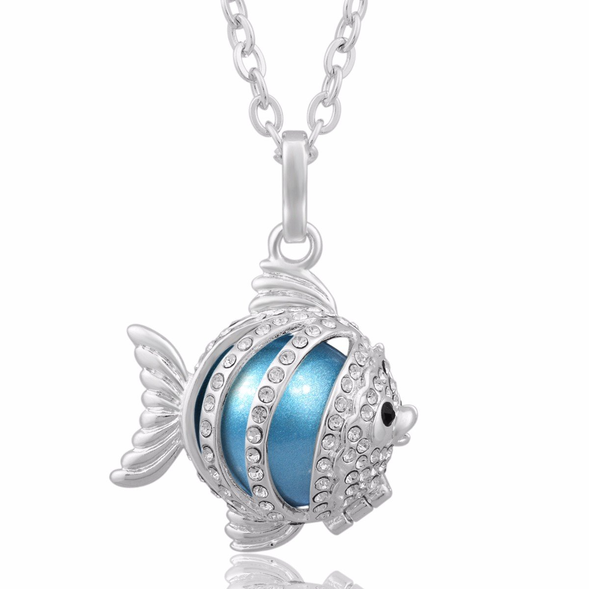 Eudora Harmony Bola Lucky Fish Pendant 20mm Angel Chime Caller Chime Mom to Be Gift 30 Inch Necklace