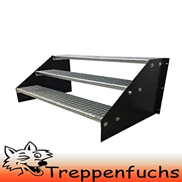 Robuste Au/ßentreppe Stabile Industrietreppe f/ür den Au/ßenbereich 3 Stufen Standtreppe Stahltreppe freistehend Breite 120cm H/öhe 63cm Schwarz