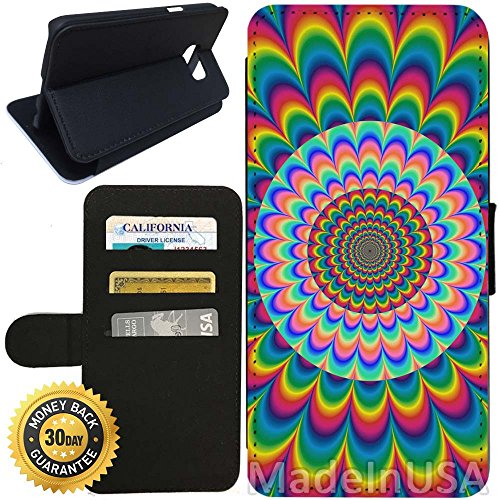 Flip Wallet Case for Galaxy S7 (Rainbow Optical Illusion) with Adjustable Stand and 3 Card Holders | Shock Protection | Lightweight | Includes Stylus Pen by - Glasses Australia Optical