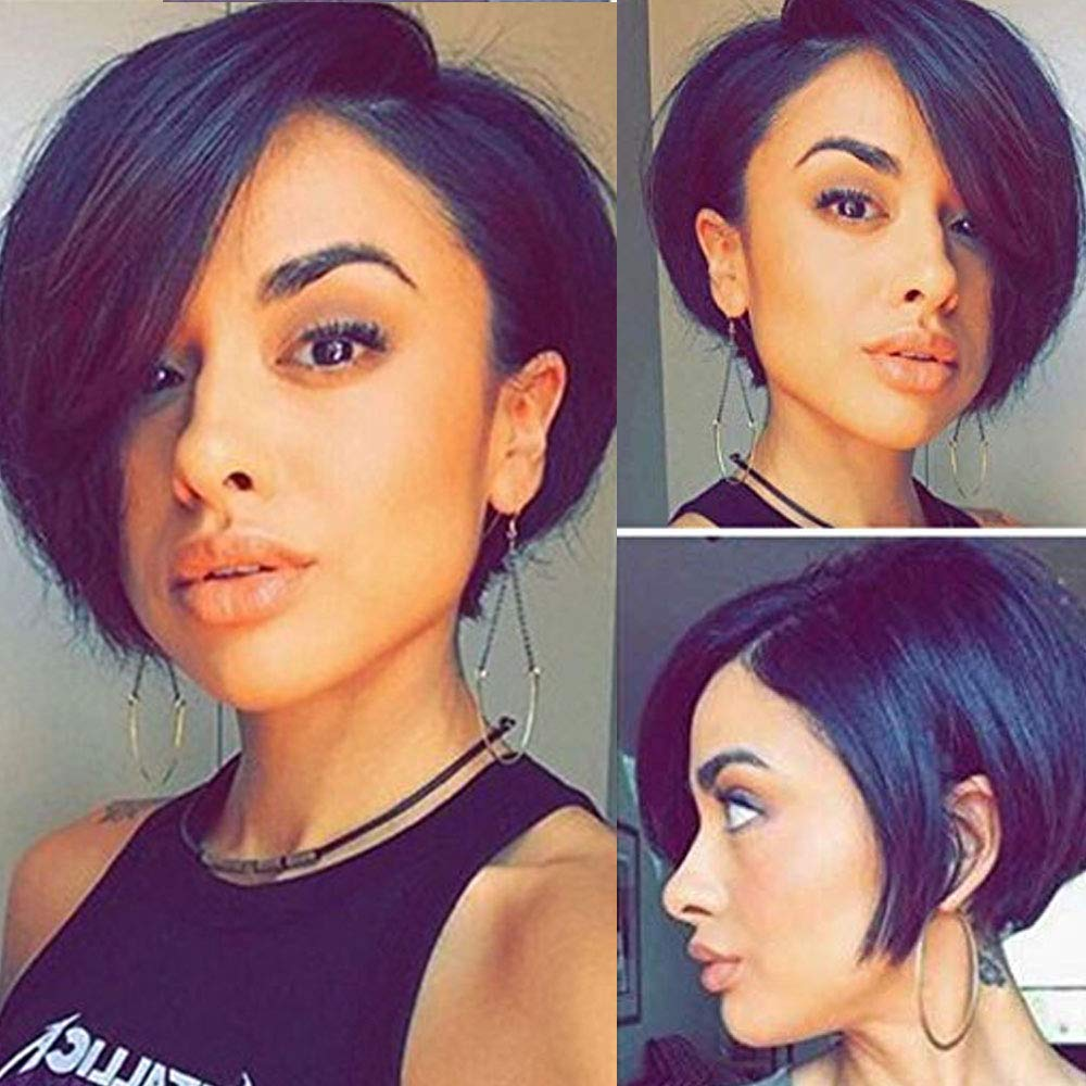 Glueless Short Pixie Cut Bob Human Hair Lace Front Wigs Side Bangs  Brazilian Full Lace Wig with Baby Hair Pre Plucket 1111A 11B# Off Black  (111inch,