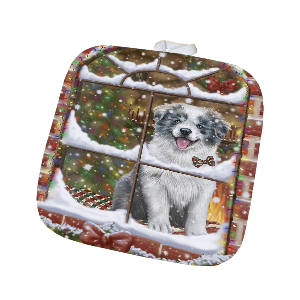 Please Come Home For Christmas Border Collie Dog Sitting In Window Pot Holder POT48369