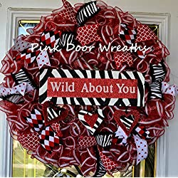 Valentine's Day Mesh Door Wreath; red black white animal print