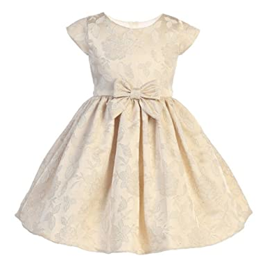 dae7c2710b7b2 Amazon.com: Sweet Kids Little Girls Beige Floral Jacquard Flower ...