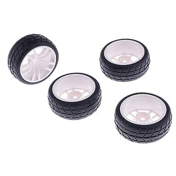 4x Ruedas de Goma y Llantas de Plástico para HSP RC 1:10 Coche de Carretera: Amazon.es: Juguetes y juegos