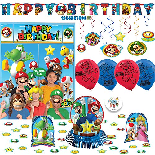 Super Mario Bros Birthday Party Decoration Pack with Scene Setter + Photo Props, Table Decorating Kit, 6 Balloons, Swirl Decorations, and EXCLUSIVE Birthday Pin By Another Dream! -