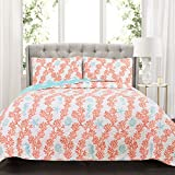Lush Decor Dina Coral 3 Piece Quilt Set, King, Blue/Coral