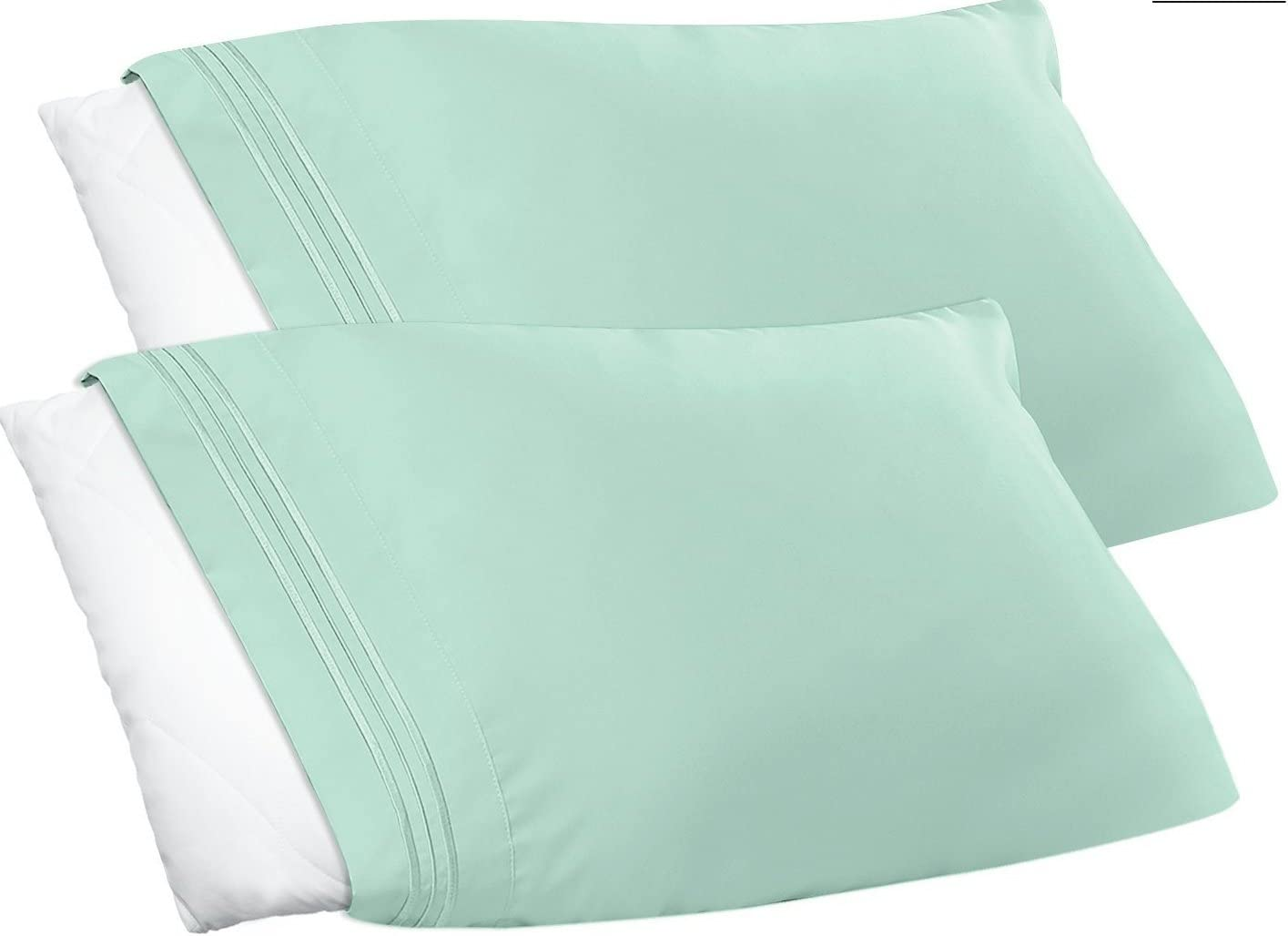 Clara Clark Premier 1800 Collection Pillowcase Set, Standard Size, Mint Green, 2 Piece
