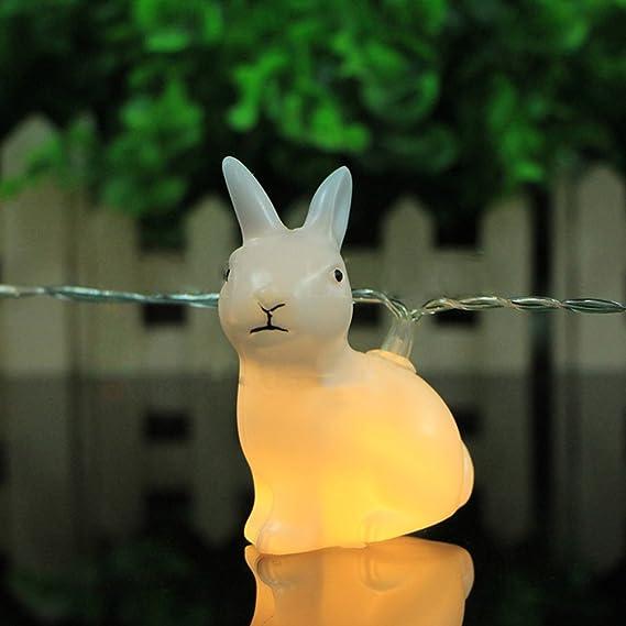 Ledmomo Lichterkette Mit 10 Leds Batteriebetrieben Warmweiß Hase Osterdekoration Beleuchtung