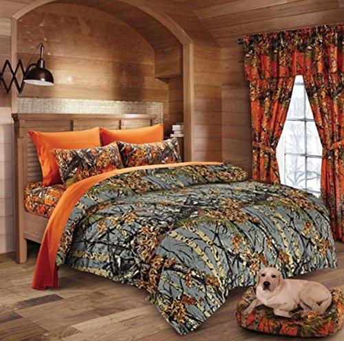 Comforter, Sheet, Pillowcase Set Gray & Orange (Twin, Gray/Orange) ()