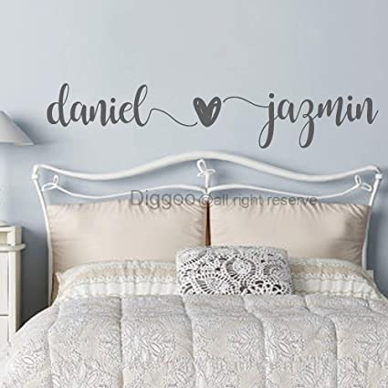 Custom Couple Names Wall Decal Husband Wife Names Decal Master Bedroom Wall  Decor Wedding Gift Romantic Wall Art (10\