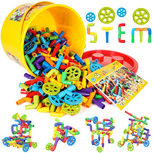 250 Pieces STEM Building Blocks, Pipe Tube Sensory Toys, Creative Tube Locks Construction Set with Wheels, with Storage Box, Preschool Educational Learning Toys, Present Gift for Boys Girls Aged 3+