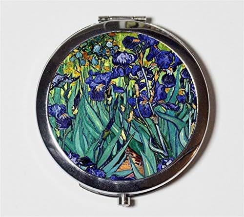 Vincent Van Gogh Irises Compact Mirror Fine Art Painting Pocket Mirror for Cosmetics