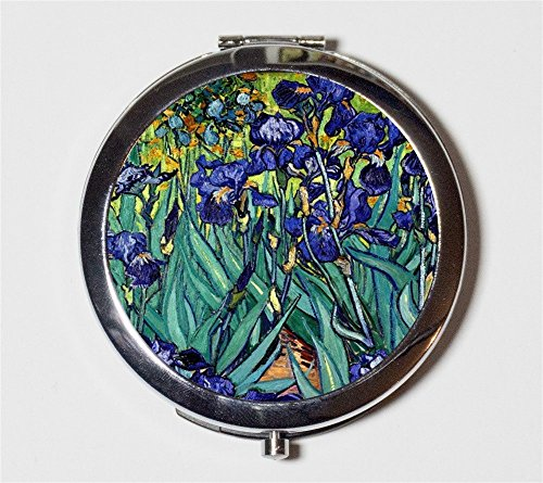 Vincent Van Gogh Irises Compact Mirror Fine Art Painting Pocket Mirror for Cosmetics by Fringe Pop